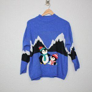 Vintage Jamie Scott Penguin Print Sweater sz Large